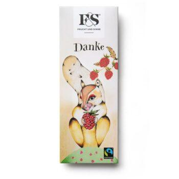 Danke - Weiße Schokolade mit gefriergetrockneten Himbeeren.